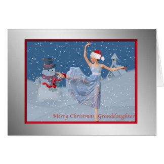 Navidad, nieta, bailarina en nieve tarjeta de felicitación