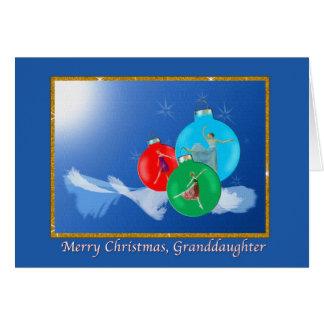 Navidad, nieta, bailarinas tarjeta de felicitación