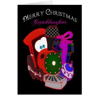 Navidad - nieta - tren del regalo tarjeta de felicitación