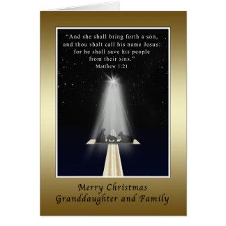 Navidad, nieta y familia, religiosas tarjeta de felicitación