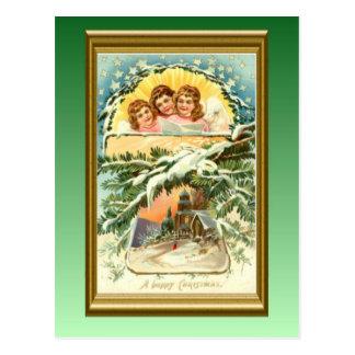 Navidad, nieve, iglesia y coro del vintage tarjeta postal