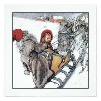 Navidad Nisse y Kersti en paseo del trineo Invitación 13,3 Cm X 13,3cm