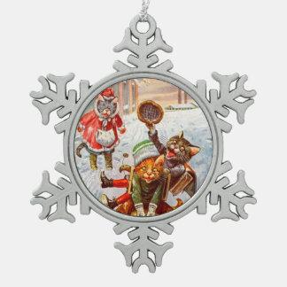 Navidad ornamento, gatos del vintage de Arturo Adorno De Peltre En Forma De Copo De Nieve