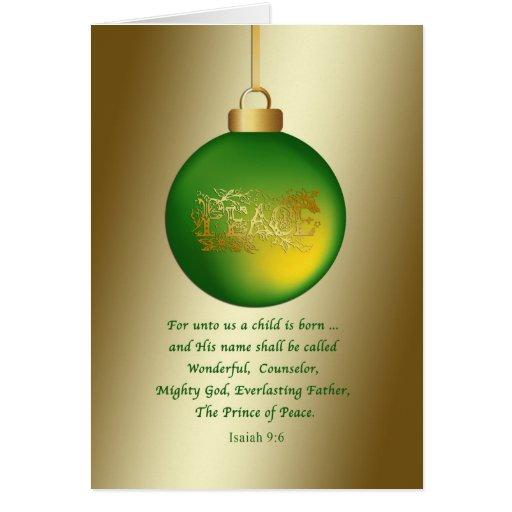 Navidad, ornamento verde de la paz, religioso tarjeta