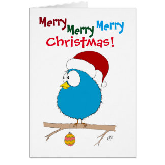 Navidad: Pájaro divertido (azul) Tarjeta De Felicitación