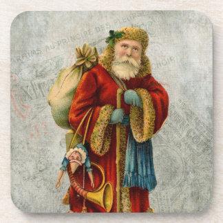 Navidad Papá Noel del padre del estilo del vintage Posavasos