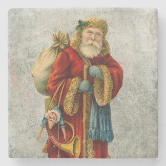Navidad Papá Noel del padre del estilo del vintage Posavasos De Piedra