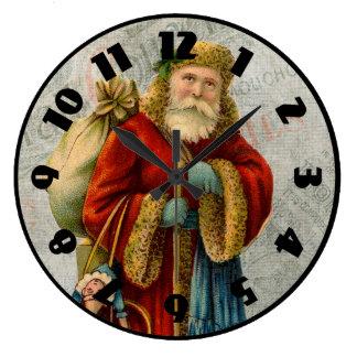 Navidad Papá Noel del padre del estilo del vintage Reloj Redondo Grande