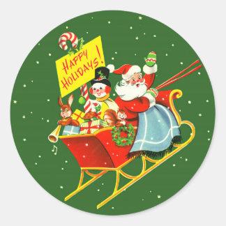 navidad Papá Noel del vintage de los años 40 con Pegatina Redonda