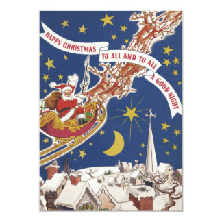 Navidad Papá Noel del vintage en la invitación del
