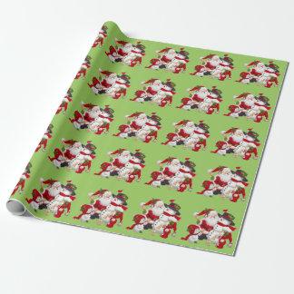 Navidad Papá Noel y papel de embalaje de los