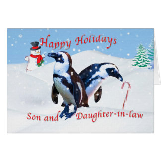 Navidad para el hijo y la nuera tarjeta de felicitación