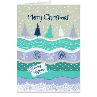 Navidad para el sobrino - copos de nieve, abetos tarjeta de felicitación