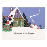 Navidad pasado de moda Nevado Postal