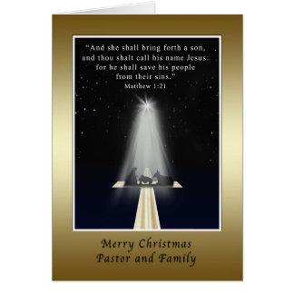Navidad, pastor y familia, religiosos tarjeta de felicitación