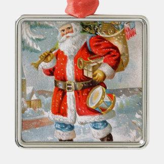 Navidad patriótico americano magnífico Santa Adorno Navideño Cuadrado De Metal