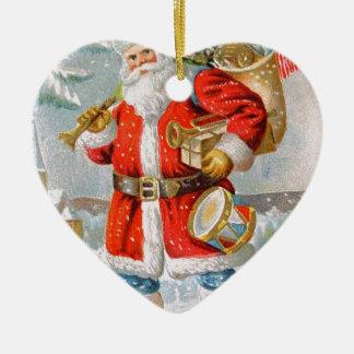 Navidad patriótico americano magnífico Santa Adorno Navideño De Cerámica En Forma De Corazón