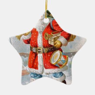 Navidad patriótico americano magnífico Santa Adorno Navideño De Cerámica En Forma De Estrella