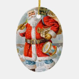 Navidad patriótico americano magnífico Santa Adorno Navideño Ovalado De Cerámica