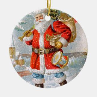 Navidad patriótico americano magnífico Santa Adorno Navideño Redondo De Cerámica