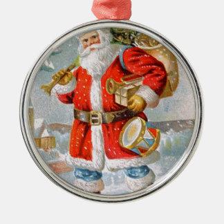Navidad patriótico americano magnífico Santa Adorno Navideño Redondo De Metal