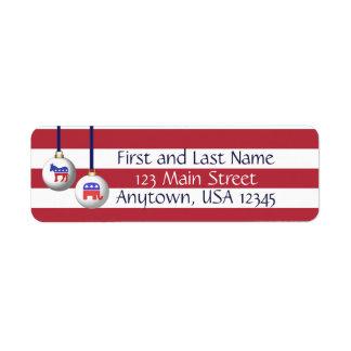 Navidad patriótico blanco y azul rojo de dos etiquetas de remite