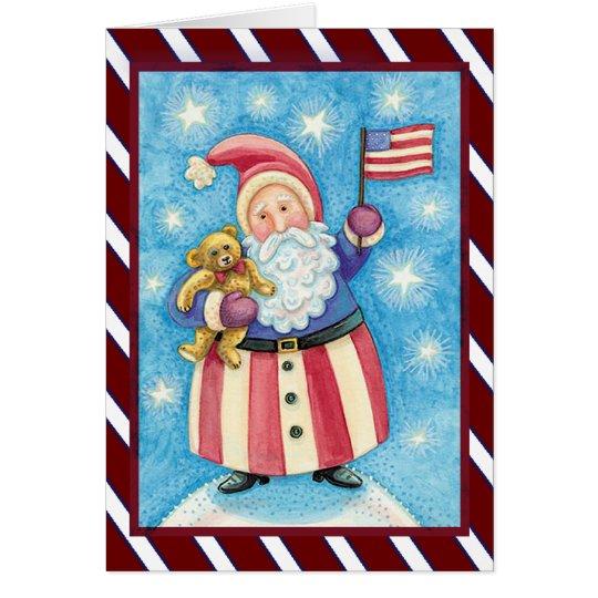 Navidad patriótico de Santa Tarjeta De Felicitación