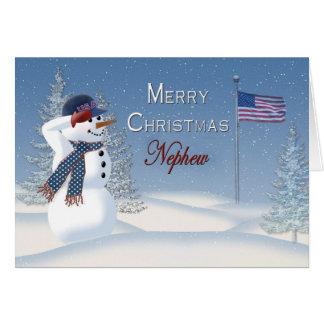 Navidad - patriótico - sobrino - muñeco de tarjeta de felicitación
