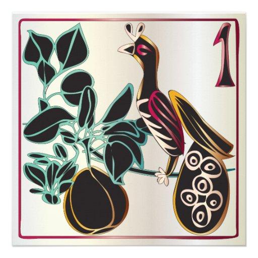 Navidad pera y pájaro del Mah Jongg Invitacion Personal