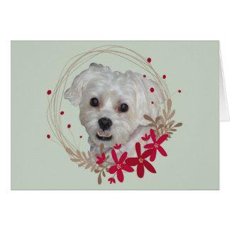 Navidad, perro blanco del mascota tarjeta
