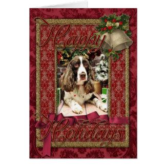 Navidad - perro de aguas de saltador inglés - tarjeta