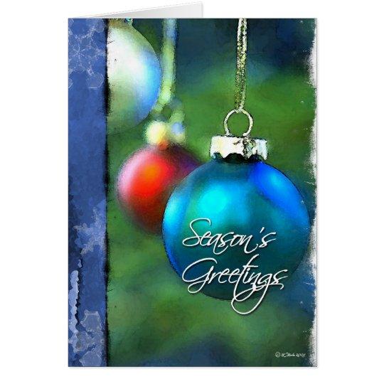 Navidad pintado Bulbo-Azul Tarjeta De Felicitación