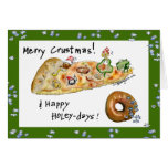 Navidad pizza y buñuelo del dibujo animado tarjeta de felicitación
