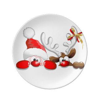 navidad plato de porcelana