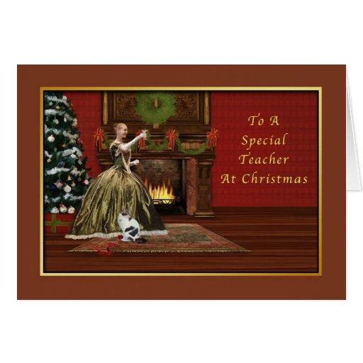 Navidad, profesor, pasado de moda felicitación
