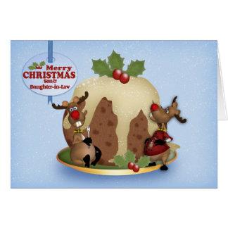 Navidad pudín y reno del hijo y de la nuera tarjeta de felicitación