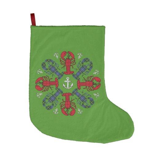 Navidad que almacena verde náutico de la langosta calcetín navideño grande