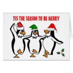 Navidad que baila la estación de Tis de los pingüi Tarjeton