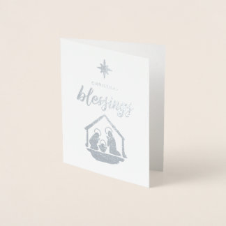 Navidad que bendice el efecto metalizado religioso tarjeta con relieve metalizado
