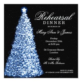 Navidad que casa el azul de la cena del ensayo invitación 13,3 cm x 13,3cm