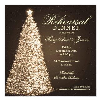 Navidad que casa el oro de la cena del ensayo invitación 13,3 cm x 13,3cm