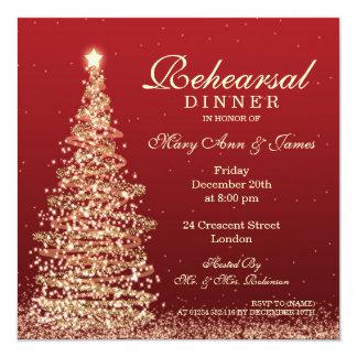 Navidad que casa el oro del rojo de la cena del invitación 13,3 cm x 13,3cm