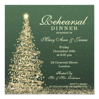 Navidad que casa el oro verde de la cena del invitación 13,3 cm x 13,3cm