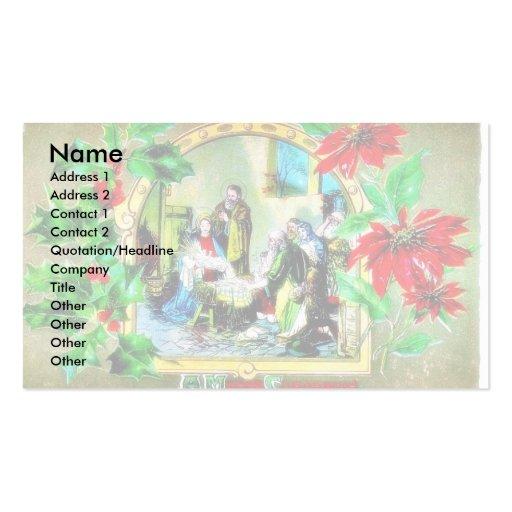Navidad que saluda con el pesebre plantillas de tarjetas de visita