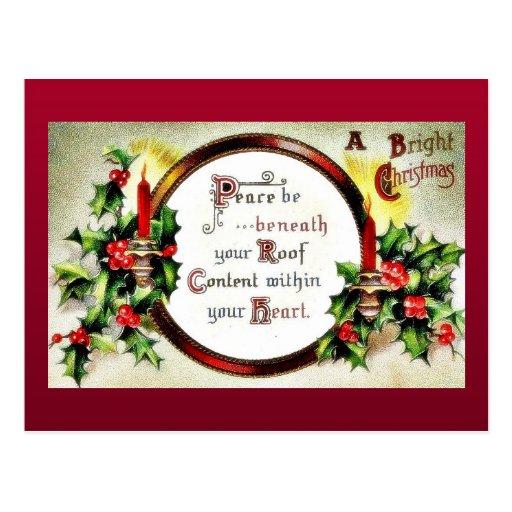 Navidad que saluda con los deseos escritos en un e tarjeta postal