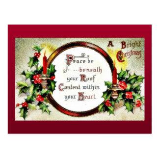 Navidad que saluda con los deseos escritos en un postal