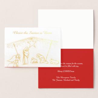 Navidad religioso del pesebre del efecto tarjeta con relieve metalizado