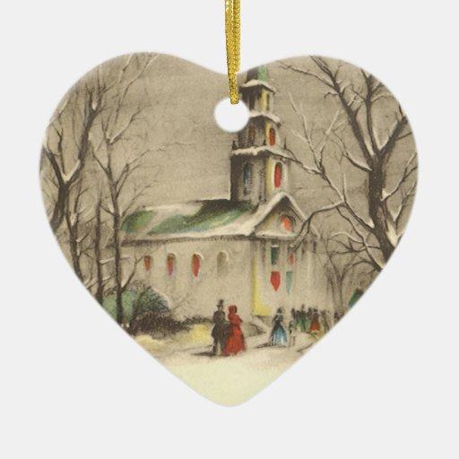Navidad religioso del vintage, iglesia, nieve, adornos de navidad