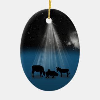 Navidad, religioso, natividad, estrellas, adorno navideño ovalado de cerámica