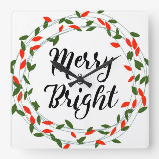 - Navidad - reloj de pared cuadrado feliz y
